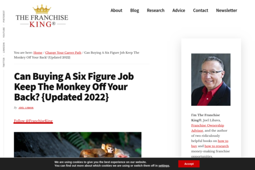 Can Buying A Six Figure Job Keep The Monkey Off Your Back? - thefranchiseking.com/buying-a-six-figure-job