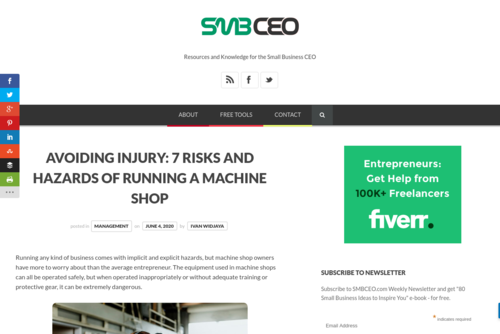 Avoiding Injury: 7 Risks and Hazards of Running a Machine Shop  - www.smbceo.com/2020/06/04/avoiding-injury-7-risks-and-hazards-of-running-a-ma...
