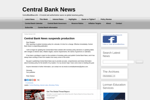 Monetary Policy Week in Review - 14 Jan 2012 - http://www.centralbanknews.info
