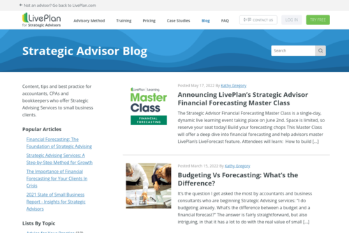 How Strategic Advising Services are the Core of a Niche Bookkeeping or Accounting Practice - https://strategicadvisor.liveplan.com