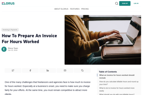 How to prepare an invoice for hours worked - www.elorus.com/blog/how-to-write-an-invoice-for-hours-worked/