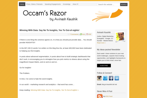 The Biggest Mistake Web Analysts Make… And How To Avoid It! - Occam's Razor by Avinash Kaushik - http://www.kaushik.net