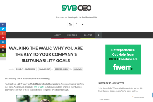 Walking the Walk: Why YOU Are the Key to Your Company\'s Sustainability Goals  - www.smbceo.com/2019/12/23/walking-the-walk-why-you-are-the-key-to-your-compan...