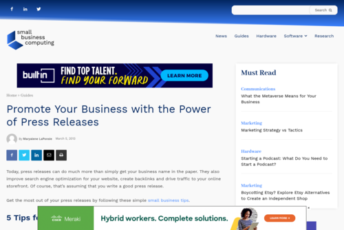 Promote Your Business with the Power of Press Releases - www.smallbusinesscomputing.com/tipsforsmallbusiness/promote-your-business-wit...