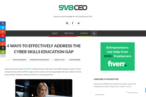 4 Ways to Effectively Address the Cyber Skills Education Gap  - www.smbceo.com/2019/08/02/4-ways-to-effectively-address-the-cyber-skills-educ...