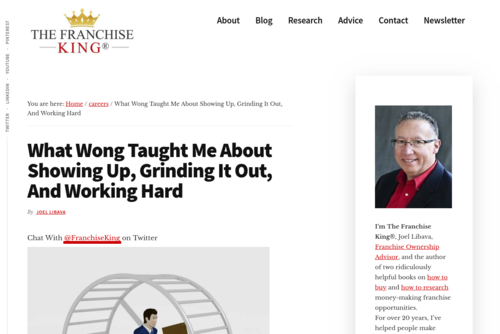 What Wong Taught Me About Grinding It Out And Showing Up - thefranchiseking.com/wong-grinding-it-out