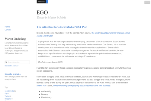 The ABC Rule for a New Media POST Plan - http://ego.posthaven.com