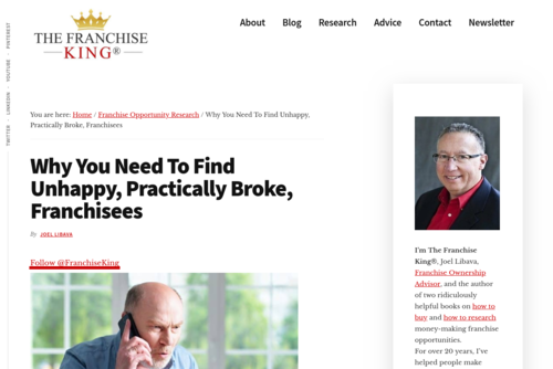 Why You Need To Find Frustrated Franchisees - thefranchiseking.com/find-unhappy-franchise-owners
