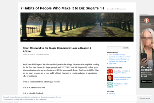 Don't Respond to Biz Sugar Comments: You Might Lose a Reader & A Voter  - http://theheidiblog.wordpress.com